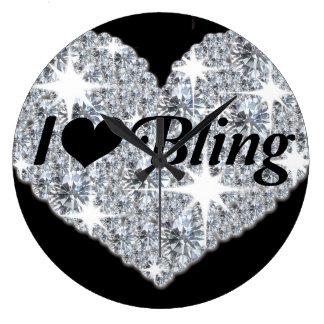 Sparkly faux diamond heart  'i lover bling' clock
