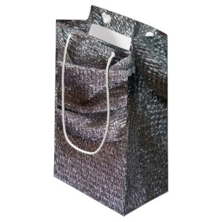 Sparkly Faux Silver Glitter Fabric Design Small Gift Bag