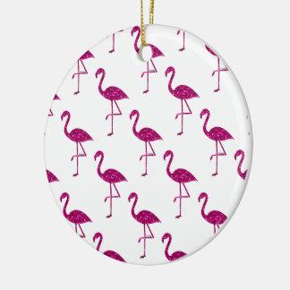 Sparkly flamingo Pink glitter sparkles pattern Ceramic Ornament