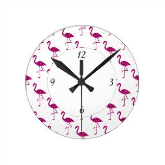 Sparkly flamingo Pink glitter sparkles pattern Round Clock