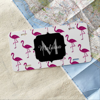 Sparkly flamingo Pink sparkles pattern Monogram License Plate