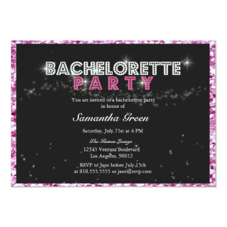 Sparkly Glitter Pink Bachelorette Party Invitation