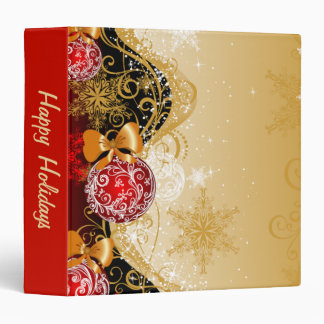 Sparkly Gold and Red Ornament Binders