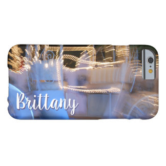 Sparkly gold blue princess coach photo custom name barely there iPhone 6 case