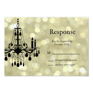 Sparkly Gold Chandelier RSVP Card