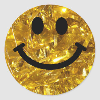 Sparkly Gold faux Bling Smiley Classic Round Sticker