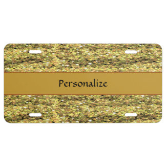 Sparkly Gold Glitter Personalize License Plate