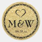 Sparkly Gold Monogram Wedding Favour Stickers