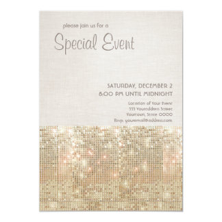 Sparkly Gold Sequins Festive Party Invitation