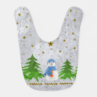 Sparkly gold stars, snowman and green tree bib