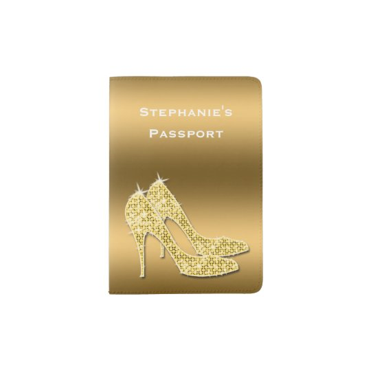 Sparkly Gold Stiletto Shoes Passport Holder
