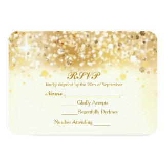 Sparkly Golden Lights Elegant RSVP Invitation Card