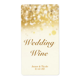 Sparkly Golden Lights Wedding Holiday Wine Label