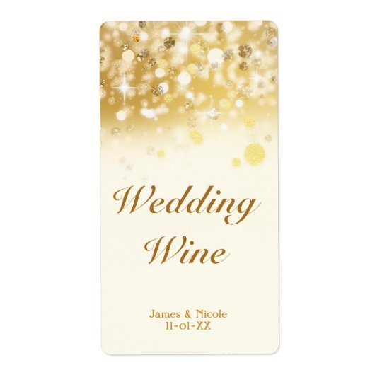 Sparkly Golden Lights Wedding Holiday Wine Label Shipping Label