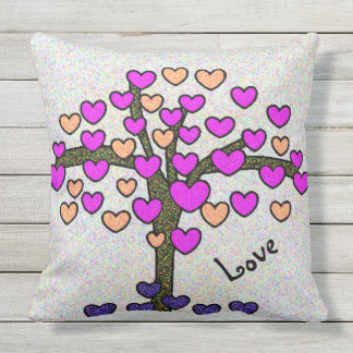 Sparkly Hearts Love Tree Design Cute Outdoor Pillow