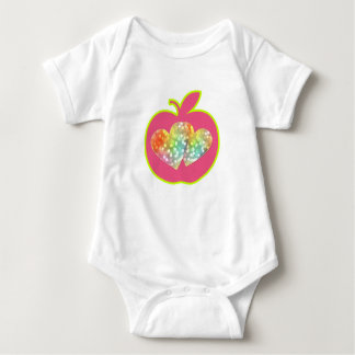 Sparkly hearts on a pink apple baby bodysuit