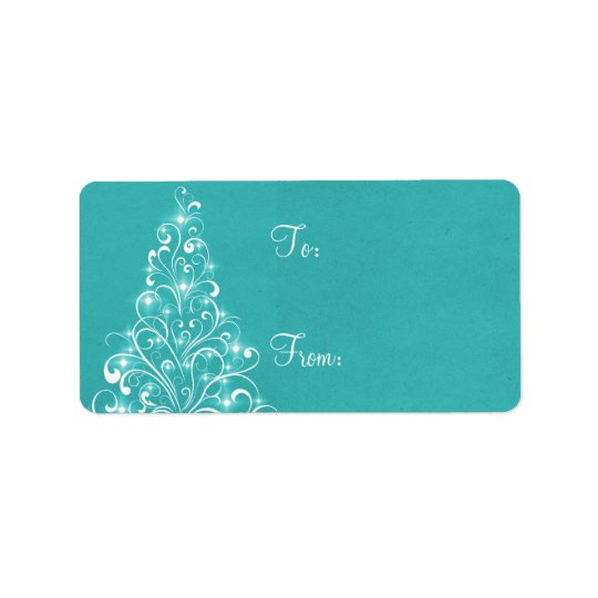 Sparkly Holiday Tree Gift Tags, Aqua Label