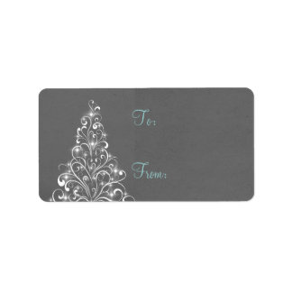 Sparkly Holiday Tree Gift Tags, Gray Label