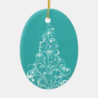 Sparkly Holiday Tree Oval Ornament, Aqua Ceramic Ornament