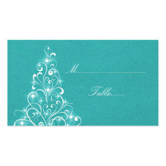 Sparkly Holiday Tree Place Card, Aqua Pack Of Standard Business Cards