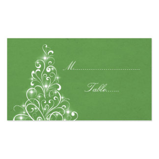 Sparkly Holiday Tree Place Card, Green Business Card