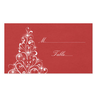 Sparkly Holiday Tree Place Card, Red Pack Of Standard Business Cards