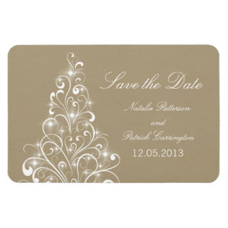 Sparkly Holiday Tree Save the Date Magnet, Beige