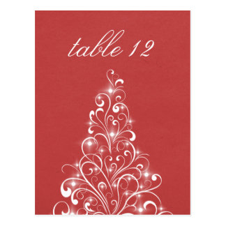 Sparkly Holiday Tree Table Postcard, Red Postcard