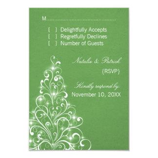 "Sparkly Holiday Tree Wedding RSVP Card, Green 3.5"" X 5"" Invitation Card"