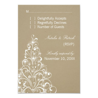 Sparkly Holiday Tree Wedding RSVP Card, Latte Card