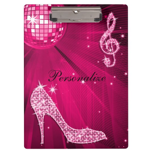 Sparkly Hot Pink Music Note & Stiletto Heel Clipboard