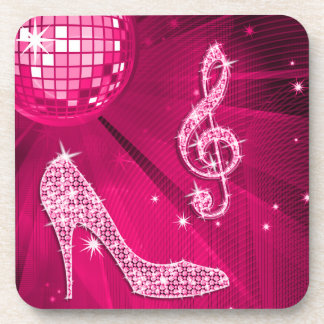 Sparkly Hot Pink Music Note & Stiletto Heel Coasters