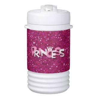 Sparkly Hot Pink Princess Glitter Beverage Cooler