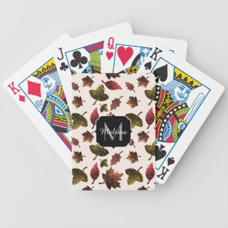 Sparkly leaves fall autumn pattern Monogram Bicycle Playing Cards