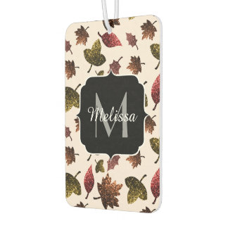 Sparkly leaves fall autumn pattern Monogram Car Air Freshener
