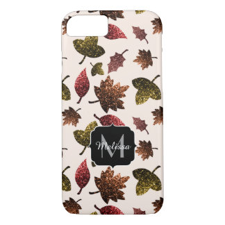 Sparkly leaves fall autumn pattern Monogram iPhone 8/7 Case