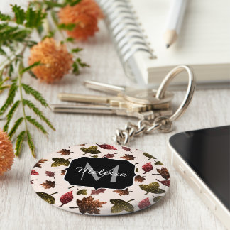 Sparkly leaves fall autumn pattern Monogram Keychain