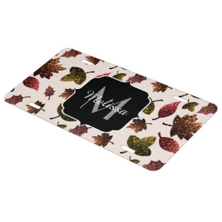 Sparkly leaves fall autumn pattern Monogram License Plate