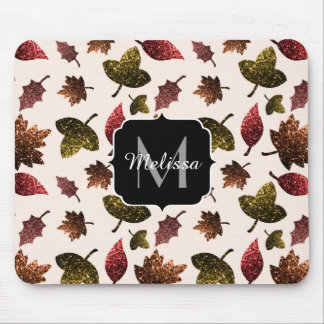 Sparkly leaves fall autumn pattern Monogram Mouse Pad
