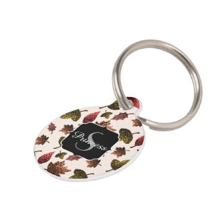 Sparkly leaves fall autumn pattern Monogram Pet Tag