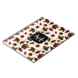 Sparkly leaves fall autumn pattern Monogram Spiral Notebook