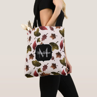 Sparkly leaves fall autumn pattern Monogram Tote Bag