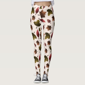 Sparkly leaves fall autumn sparkles pattern leggings