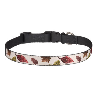 Sparkly leaves fall autumn sparkles pattern pet collar