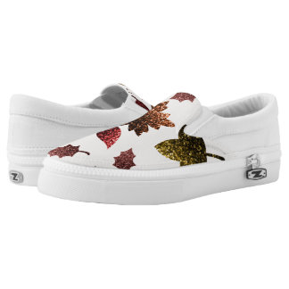 Sparkly leaves fall autumn sparkles pattern Slip-On sneakers