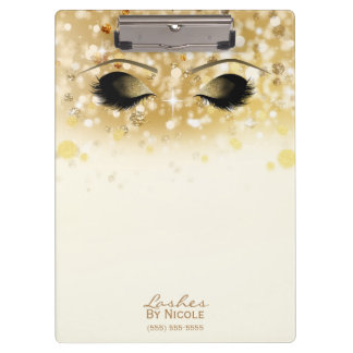 Sparkly Lights Gold Makeup Eyes Lashes Modern Clipboard