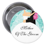 Sparkly Mother of the Groom Button / Pin Turquoise