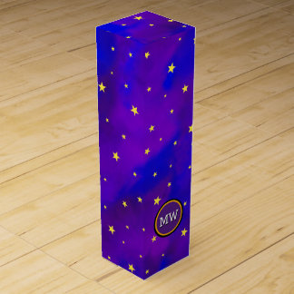 Sparkly Night Sky and Golden Stars Monogram Wine Gift Boxes