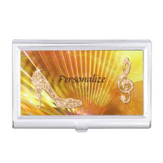 Sparkly Orange Music Note & Stiletto Heel Business Card Holder