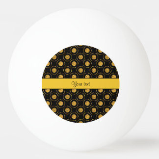 Sparkly Orange Polka Dots Black Ping Pong Ball